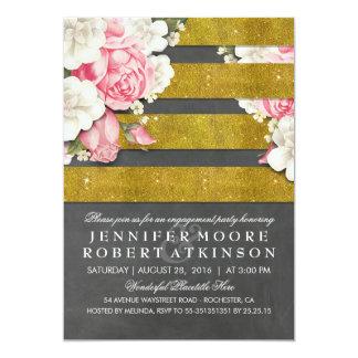 ヴィンテージの花の金ゴールドの黒板の婚約パーティ カード