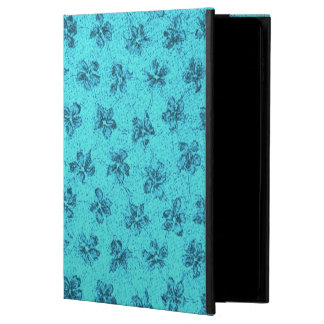 ヴィンテージの花の青いティール(緑がかった色) POWIS iPad AIR 2 ケース