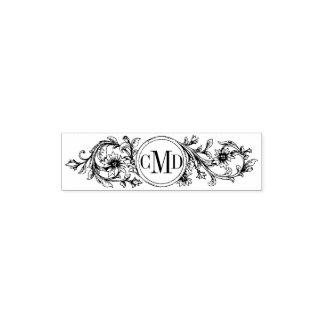 ヴィンテージの花フレームおよびイニシャルの結婚 ポケットスタンプ