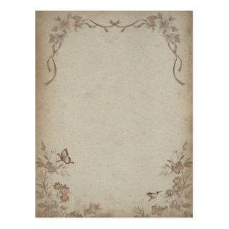 ヴィンテージの花ベージュ色 ポストカード