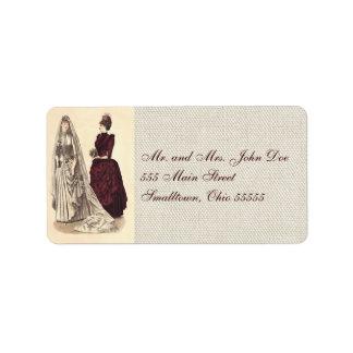 ヴィンテージの花嫁の結婚式の女性 ラベル