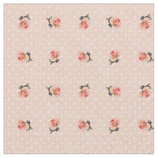 ヴィンテージの花柄および点 ファブリック