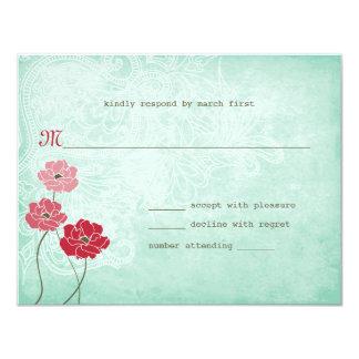 ヴィンテージの花柄および葉の応答 カード