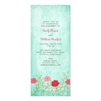 ヴィンテージの花柄および葉の招待状 カード