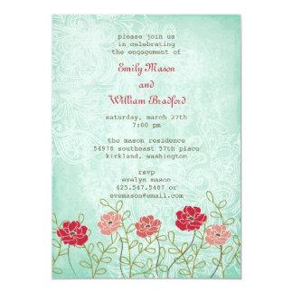 ヴィンテージの花柄および葉の招待状(5x7) カード