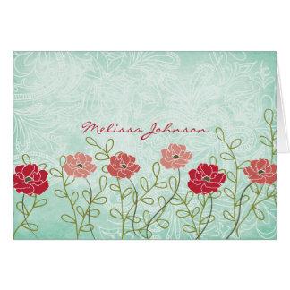 ヴィンテージの花柄および葉名前入りなNotecard カード
