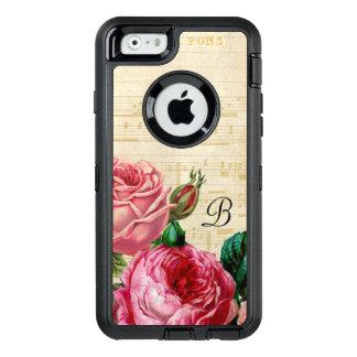 ヴィンテージの花柄のばら色のモノグラム オッターボックスディフェンダーiPhoneケース