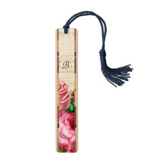 ヴィンテージの花柄のばら色のモノグラム ブックマーク