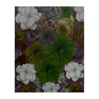 ヴィンテージの花柄のコラージュ アクリルウォールアート