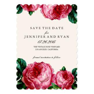 ヴィンテージの花柄のバラの保存日付 12.7 X 17.8 インビテーションカード