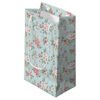 ヴィンテージの花柄のバラ スモールペーパーバッグ