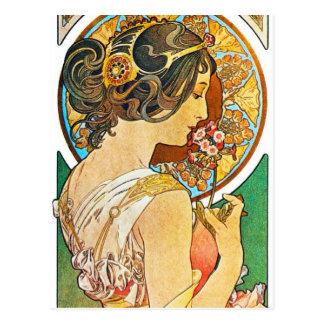 ヴィンテージの花柄のミュシャ ポストカード