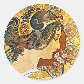ヴィンテージの花柄のミュシャ ラウンドシール