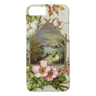 ヴィンテージの花柄の巣箱 iPhone 7ケース