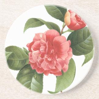 ヴィンテージの花柄、Redoute著ピンクのツバキの花 コースター