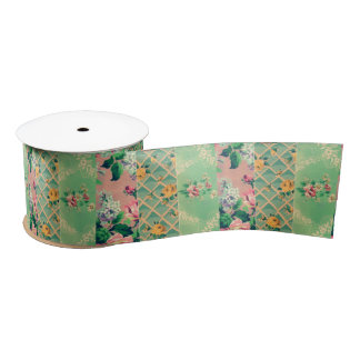 ヴィンテージの花模様の壁紙のコラージュのリボン サテンリボン
