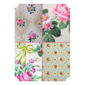 ヴィンテージの花模様の壁紙のコラージュの招待状 カード