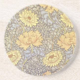 ヴィンテージの花模様の壁紙の菊 コースター
