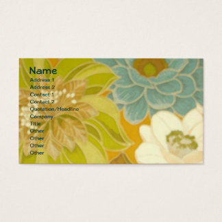 ヴィンテージの花模様の壁紙、ターコイズの緑及びブラウン 名刺