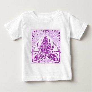 ヴィンテージの花葉のラベンダー ベビーTシャツ