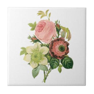ヴィンテージの花、Redoute著アネモネのバラのクレマチス タイル