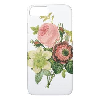 ヴィンテージの花、Redoute著アネモネのバラのクレマチス iPhone 8/7ケース