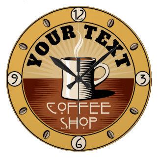 ヴィンテージの芸術および技術のスタイルの喫茶店 ラージ壁時計