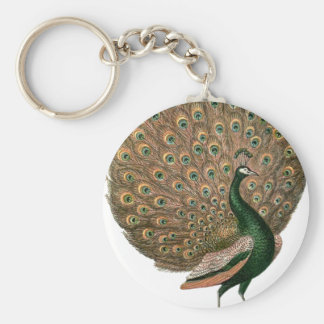 ヴィンテージの芸術のクジャク(孔雀)のplummageの緑金ゴールド キーホルダー