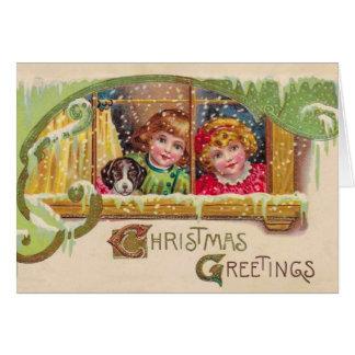 ヴィンテージの芸術のクリスマスカード、2人の子供は、カスタマイズ カード