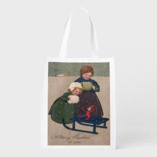 ヴィンテージの芸術のクリスマス、2人の女の子そりの小妖精や小人 エコバッグ