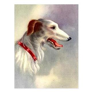 ヴィンテージの芸術のデザインのボルゾイ犬 ポストカード
