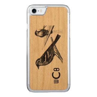 ヴィンテージの芸術のデザイン: 2鳥w/Monogramパターン Carved iPhone 8/7 ケース