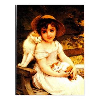 """ヴィンテージの芸術のプリント""""Munier著子ネコを持つ女の子"""" ポストカード"""