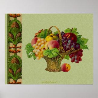 ヴィンテージの芸術の果物かごポスタープリント ポスター
