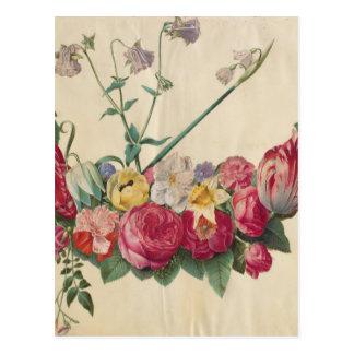 ヴィンテージの芸術の花のリース ポストカード
