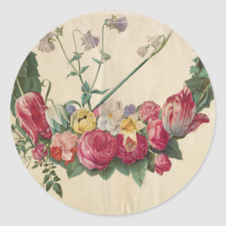 ヴィンテージの芸術の花のリース ラウンドシール