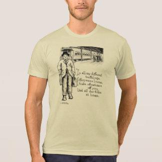 ヴィンテージの芸術の郵便はがきのルンペンのイメージ Tシャツ