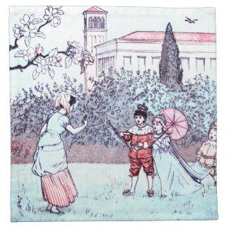 ヴィンテージの芸術を遊んでいる子供 ナプキンクロス