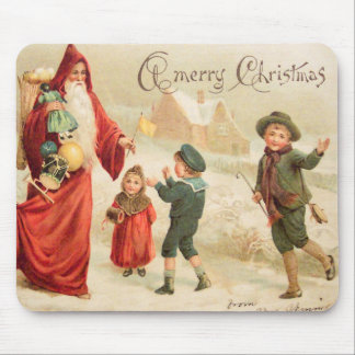 ヴィンテージの芸術サンタのクリスマス場面w子供 マウスパッド