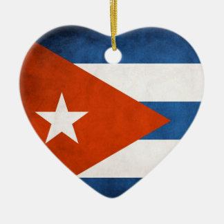 ヴィンテージの芸術的でグランジなキューバの旗 セラミックオーナメント