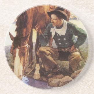 ヴィンテージの芸術、NC Wyethによって彼の馬に水をまいているカウボーイ コースター