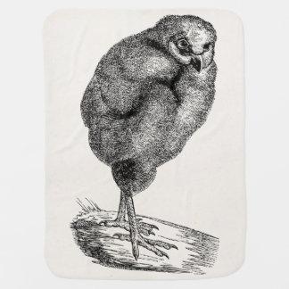 ヴィンテージの若いメンフクロウの鳥-ひな鳥のテンプレート ベビー ブランケット