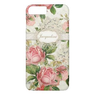 ヴィンテージの英国のばら色のレースnのアジサイの花柄の芸術 iPhone 8 plus/7 plusケース