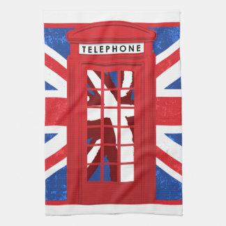 ヴィンテージの英国の公衆電話ボックス キッチンタオル