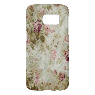 ヴィンテージの英国の庭のローズピンククリーム花 SAMSUNG GALAXY S7 ケース