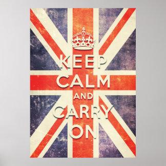 ヴィンテージの英国国旗の旗は平静を保ち、続けていきます ポスター