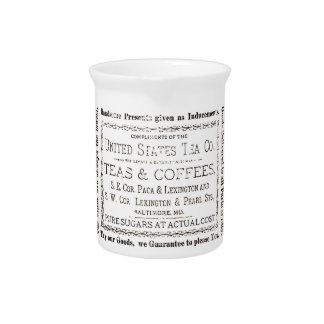 ヴィンテージの茶及びコーヒーラベル。 古い広告レトロのスタイル ピッチャー