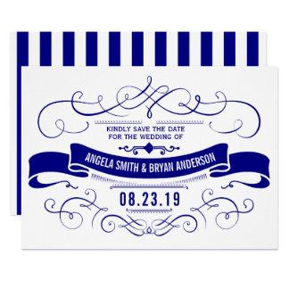 ヴィンテージの華美な濃紺の保存日付 カード