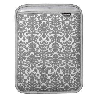 ヴィンテージの華美な花の灰色のダマスク織のiPadの袖 iPadスリーブ