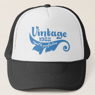 ヴィンテージの葉は完全さ1988の青のTシャツに老化しました キャップ